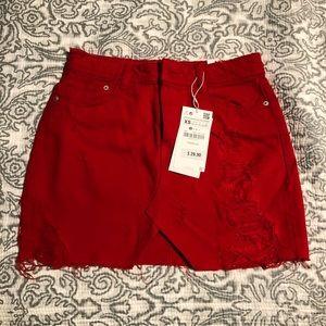 NWT Zara red denim skirt
